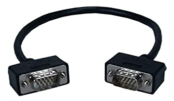 QVS 1.5ft High Performance UltraThin VGA/QXGA HDTV/HD15 Male to Male Tri-Shield Fully-Wired Cable CC388M1-1.5
