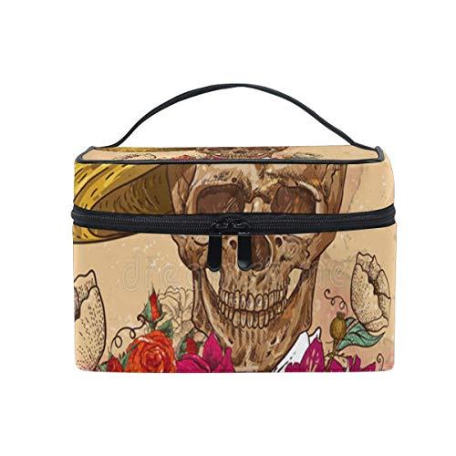 Maquillage Sac Crâne En Fleurs Jour Des Morts Sac Cosmétique Portable Grand Trousse De Toilette Pour Les Femmes/Filles Voyage