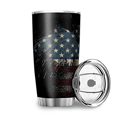 American Eagle - Taza de viaje con tapa a prueba de salpicaduras, de acero inoxidable, diseño 3D, taza de café, taza de viaje, 100% hermética, mantiene caliente y frío, 600 ml