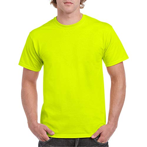Gildan Men's Heavy Cotton Adult T-Shirt, 2-Pack, Safety Green, Large