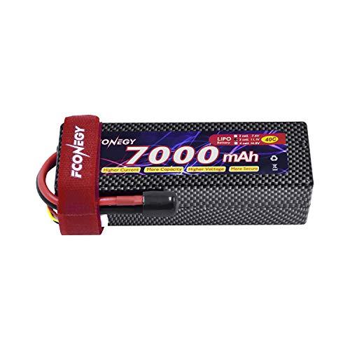 FCONEGY 11.1V 7000mAh 3S 40C RC Akku LiPo Batterie Wiederaufladbar Lithium Batterien mit Deans T Stecker Modellbau Akkupack für RC Auto Boot Truck LKW Car Batterien