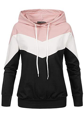 Styleboom Fashion® Damen Arrow Colorblock Hoodie schwarz Weiss rosa