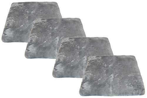 Reissner Lammfelle 4er Set Sitzkissen Lammfell Vollfell Siki KISSEN-VF-40-Set4-SIL (Rollstuhlauflage Katzenbett) VF 40x40cm Silber hell grau
