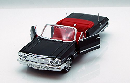 Welly 1963 Chevrolet Impala Convertible 1/24 Scale Diecast Model Car Black