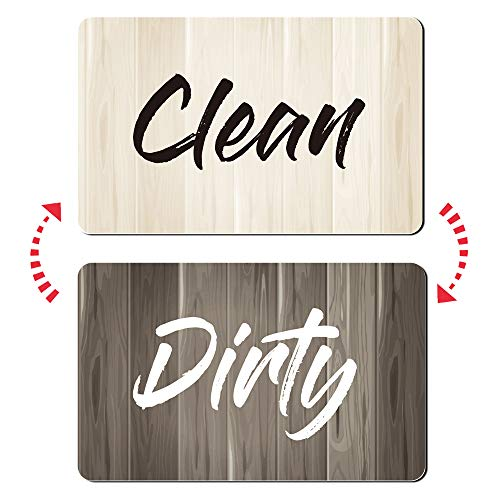 Umtiti Clean Dirty Sign Magnet for Dishwasher, Laundry Machine, Refrigerator, Reversible Kitchen Dish Washer Sign, Double Sided Magnet with Bonus Magnetic Plate, Grain-Grey