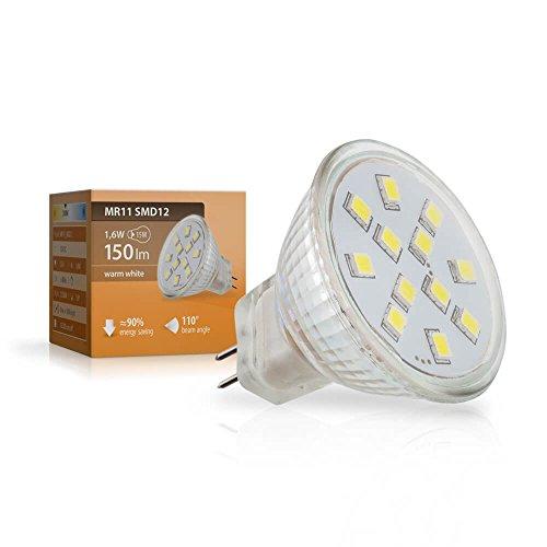 SEBSON® GU4/MR11 1,6W LED (Equivale de 15W - Calido Blanca - 150lm - 110º Haz de luz - 12V DC)