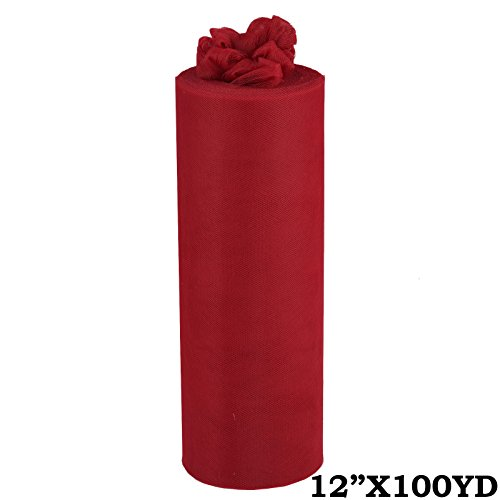 "Efavormart 12"" x 300 ft Wedding Tulle Roll Fabric for Wedding Party Banquet Event Baby Shower Favors DIY Decorations - Burgundy"
