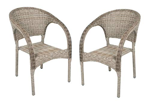 2 x rieten stoel stapelstoel tuinstoel rotan look tuinstoel stapelbaar