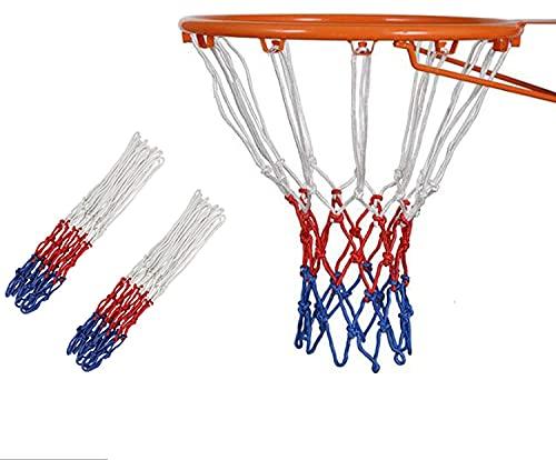 Xchmtech Red de baloncesto de repuesto de 2 unidades, resistente para baloncesto estándar de 12 bucles para equipos de gimnasio en interiores y exteriores (coloridos)