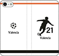 iPhone7/7Plus対応/iPhone用選択可:サッカー手帳ケース(バレンシア:21番_A)レザー/手帳型 iPhone5/5s用