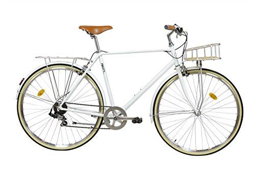 FabricBike City Classic- Comfort Tradizionale a 7 velocità Shimano Bicicletta Ibrida, Urban Commuter Road Bike, Ruote 700 C (Matte White Deluxe, M-53cm)
