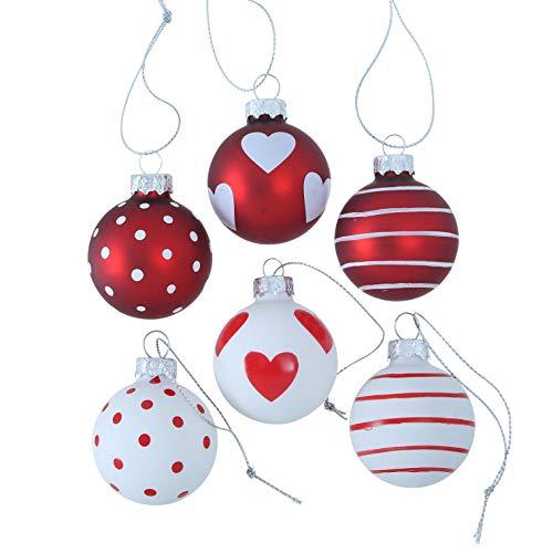 Desconocido B&B - Juego de 6 Bolas de Navidad de Cristal, diseño de Lunares, Color Rojo y Blanco