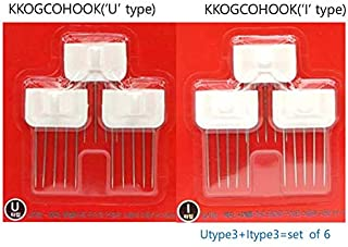KKOGCOHOOK Wall Hook- Heavy Duty Mount Steel Wall Hooks(4LB)- No Damage, No Need Tool-Put in Wallpaper- Pin Shape U,I Type Metal Hooks- Set of 12, White-Reusable Hook-Unique Hanging Hook-Korean Made