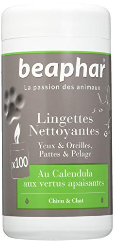 Beaphar Lingettes nettoyantes pattes, pelage, yeux et oreilles pour chien et chat, 100 lingettes
