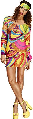 Fever Damen 70er Flower Power Kostüm, Kleid und Kopftuch, Größe: M, 30462