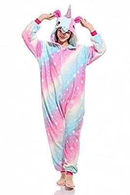 Pijama Animal Entero Unisex con Capucha Cosplay Pyjamas Ropa de Dormir Traje de Disfraz para Festival de Carnaval Halloween Navidad (Multicolor Unicornio, XL)