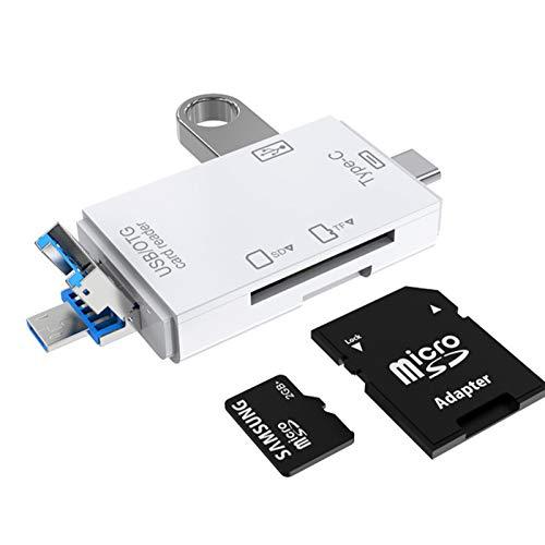 6-en-1 USB 3.0 Multi-Card Reader OTG Adaptador para TF, SD, Micro SD, SDXC, SDHC, MMC, RS-MMC, Micro SDXC, Micro SDHC, UHS-I con puertos USB, Tipo-C y Micro USB (Blanco)
