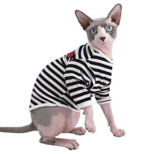 Sphynx Hunde-T-Shirt, gestreift und Herz, haarlos, atmungsaktiv, Baumwolle, runder Kragen, Weste, Kätzchenhemd, ärmellos, für Katzen und kleine Hunde, XL (8.8-11 lbs), blau