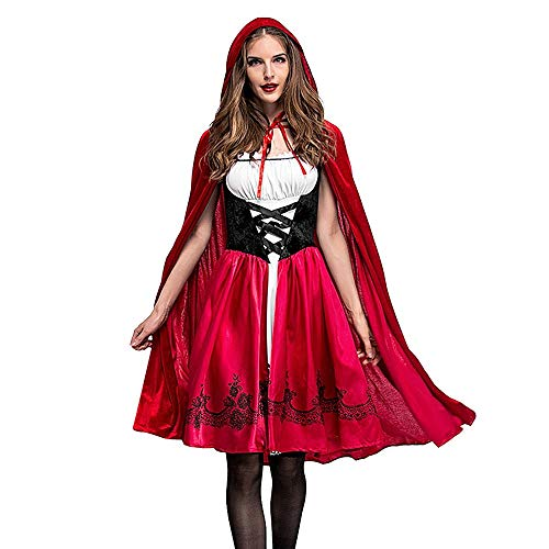 Calvinbi Rotkäppchen Kostüm Set Damen fur Halloween Party Ball Karneval Kostüme Cosplay Midi Dirndl Set Elegante Kleider Vintage Kleid mit Umhang Spitzenkleid Lolita Kleider Knielang Partykleid