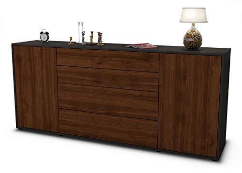 Stil.Zeit Sideboard Elettra/Korpus anthrazit matt/Front Holz-Design Walnuss (180x79x35cm) Push-to-Open Technik & Leichtlaufschienen