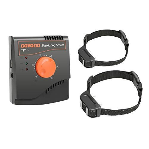 COVONO Electric Dog Fence,Upgraded In Ground Pet Containment System(Underground/Aboveground,500Ft Wire,Waterproof&Rechargeable Collar,Static/Tone Correction,Supprot 2 Dogs)