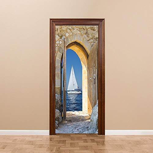 LOSAYM Etiqueta De La Puerta Impermeable 3D Papel Autoadhesivo Decoración Dormitorio Sala De Estar Pegatinas De Pared por Mar Vela Pegatinas-85cm(W)*215cm(H)