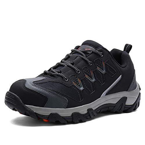 Seguridad en el Trabajo del dedo del pie zapatos de los hombres de acero casquillo al aire libre zapatilla de deporte de las botas de protección de seguridad transpirable calzado con reflexivo black 9