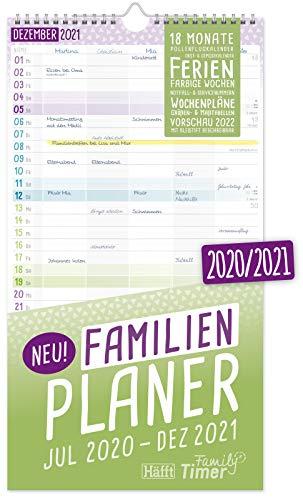FamilienPlaner 2020/2021 mit 5 Spalten, 23 x 42 cm | Wandkalender für 18 Monate: Juli 2020 - Dezember 2021 | Familienkalender Wandplaner: Ferientermine, viele Zusatzinfos | klimaneutral & nachhaltig