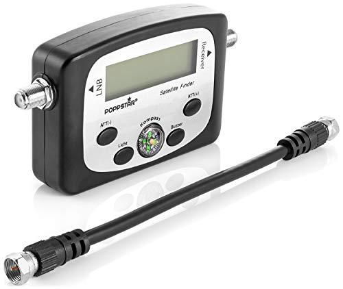 Poppstar Digital Satfinder (Dispositivo de medición Digital Sat Finder para Antena parabólica, alineación/Ajuste Exacto), Incl. Cable coaxial de 19,5 cm