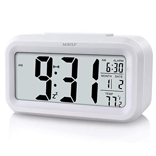Sveglia digitale, sveglia a LED con funzione snooze, sveglia mattina, orologio digitale, sveglia da comodino, sveglia con luce notturna quadrante luminoso quadrante per casa o ufficio (bianca)