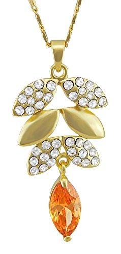 Hanessa Dames sieraden verguld blad barnsteen kleuren kristal strass stenen ketting cadeau voor Kerstmis voor de vrouw/vriendin