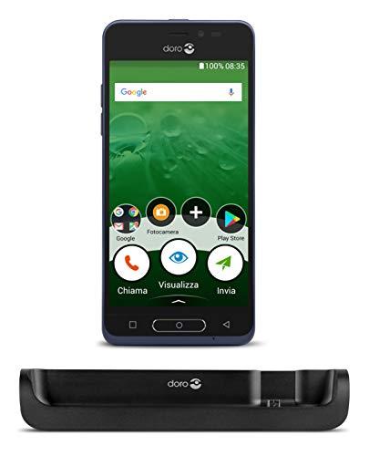 """Doro Smartphone 8035 4G für Senioren mit 5 \""""Bildschirm, Nano-Sim, 5 MP Kamera und vorinstallierten Google Apps (blau)"""