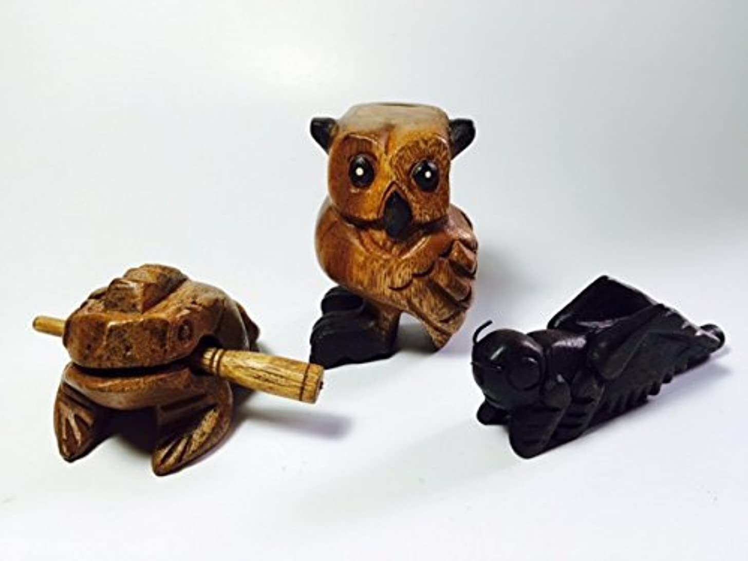 Wooden Percussion 3 Piece Set Light Brown Frog, Brown Cricket and Black Foot Owl, 3 Inches