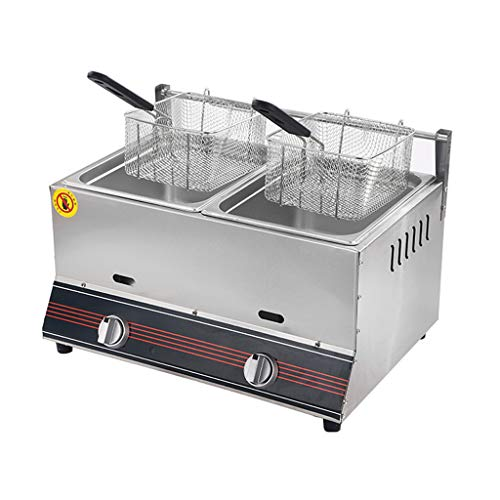 12L Gas Deep Fryer Commercial Deep Fat Fryer Stainless Steel LPG Fryer With 2 Basket And Lid, Twin Deep Fat Fryer For Chips Donuts Fish, Easy Clean