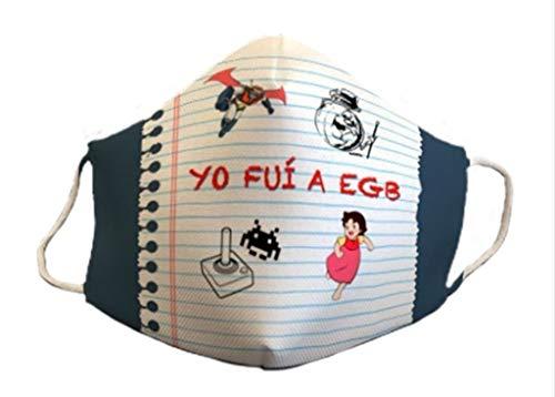 Mascarilla homologada reutilizable divertido diseño YO FUI A EGB 3capas de protección lavable estampada los 80 coleccionista exclusivas