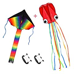 It come with 2 pack of kite,a large rainbow delta kite and red mollusc octopus with long colorful tail,100 meters kite string and easy-grip handle. The kite are made of nylon fabric and strong and flexible fiberglass rods,easy to assemble and simple ...