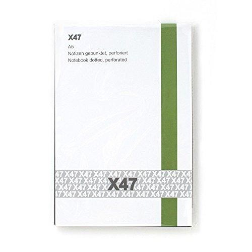 X47- A5 Notizen Hochkant gepunktet - passend für den X47-Organizer/Tageskalender/Terminkalender, mit Röhrchen am Rücken, Umschlag Schwarz/Weiß