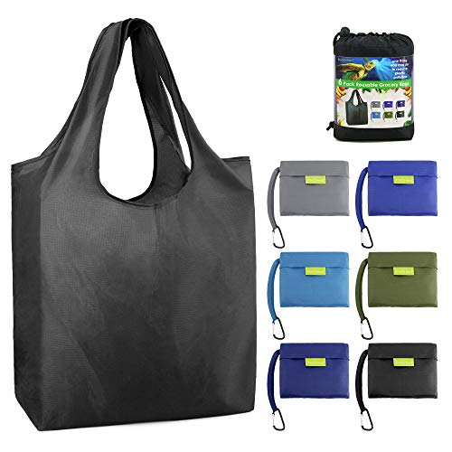 BeeGreen Reusable Grocery Bags Foldable Shopping Bag Large 50LBS Reusable Tote Groceries Bags with Pouch Bulk 6 Pack Ripstop Fabric Washable Durable Lightweight Black Grey Royal Navy Teal Moss