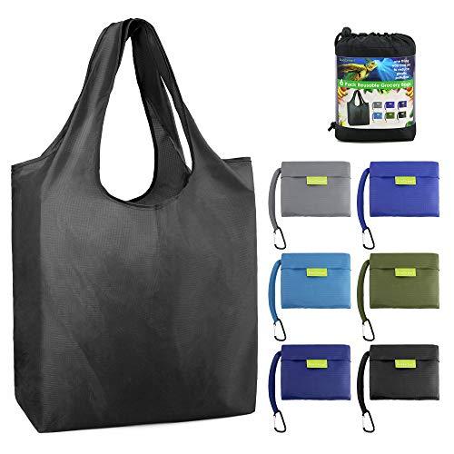 Bolsas de comestibles plegables y reutilizables con bonitos diseños, bolsa de la compra plegable que cabe en el bolsillo.
