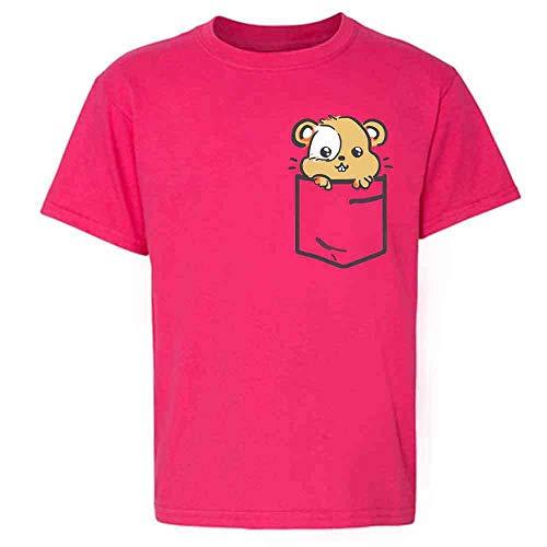 Pocket Pets Hamster Cute Critter Faux Pocket Pink L Youth Kids Girl Boy T-Shirt