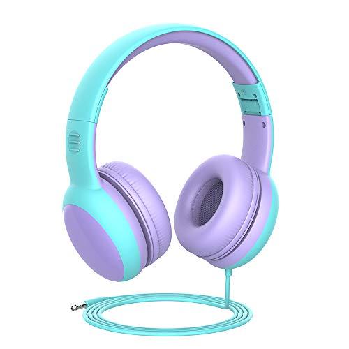Gorsun Auriculares para niños, Volumen Limitado en el oído Auriculares para niños con Conector de Audio de 3.5 mm para niñas y niños, Auriculares con Cable Ajustable y Plegable (Morada)