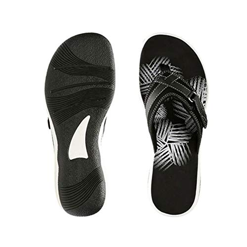 Pineocus Flip-Fops para damas, sandalias tejidas de moda, cómodas zapatillas deportivas de soporte de arco