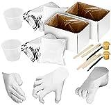 infactory Gipsabdruck Baby: 2x Gips-Abform-Sets, Baby-Füßchen/-Händchen, jeweils 8-teilig (3D-Baby-Abdruckset mit Gips)