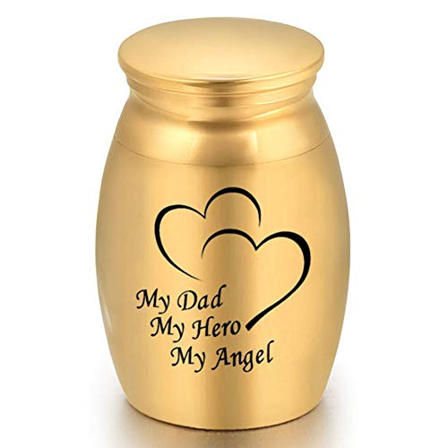 Elibeauty Mini Urn Golden Memorial Ashes Vial Urns in Jars Mini Keepsake Urns for Human Keepsake Holder for Ashes Holder(Type 16)
