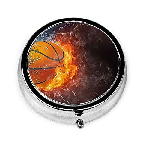 Caja de píldoras redonda Bola de salpicaduras de agua de fuego Caja de píldora decorativa personalizada para bolsillo