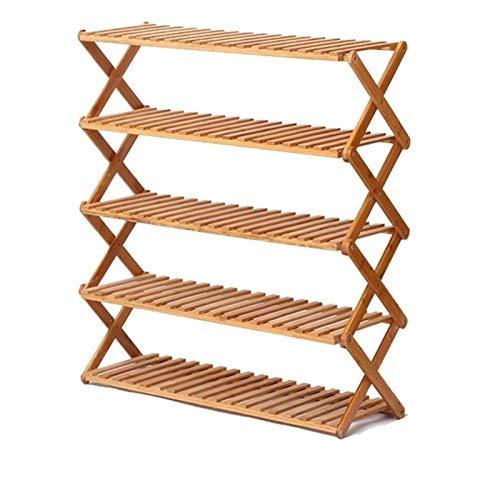 ZZYE Zapatero de 5 niveles, plegable, de bambú, para zapatos, organizador de zapatos, estante de decoración (L) 50/60/70/80/90/100 x 28 x 78 cm (tamaño: 90 cm)