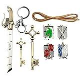 Attack on Titan Shingeki No Kyojin Wall María Rose Sina Insignia de oro con doble arma espada colgante collar llavero Eren llavero de accesorios de joyería en una caja de colección