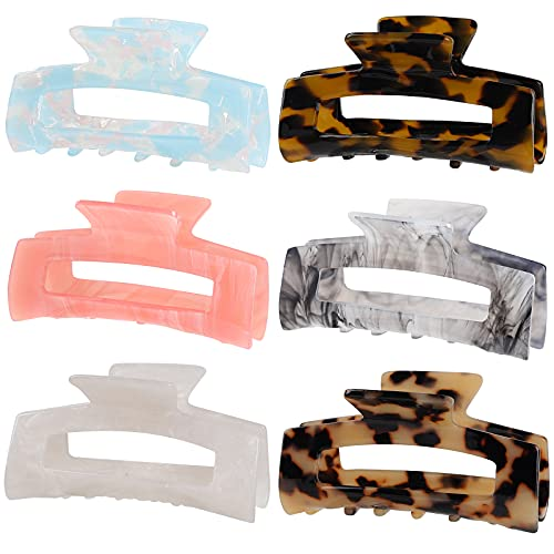 6 Pack Multi-Color Large Hair Claw Clips, Banana Tortoise Shell Barrettes Celluloid French Leopard Print Hair Jaw Clips for Women and Girls