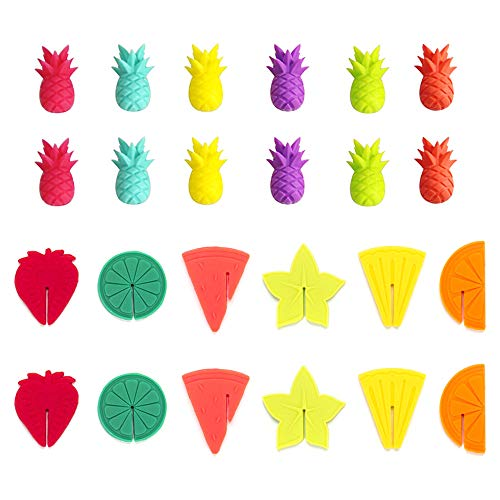Zasiene Segna Bicchieri Colorati 24 Pezzi Segnabicchieri in Silicone Vino Anelli Segna Calici Segna Bicchieri Marcatori Segna Bicchieri Colorati Porta per Accessori per Bevande in Tazza da Festa