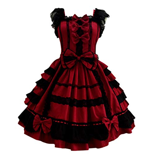 Anime Cosplay Kostüm Damen Lolita Nette Kleid Frauen Lace Langarm A-Linien Kleid Bowtie Cosplay Kostüme Partykleid mit Spitze Ärmel Cocktailkleid Vintage Kleid Gotische Kleider Weihnachten Piebo
